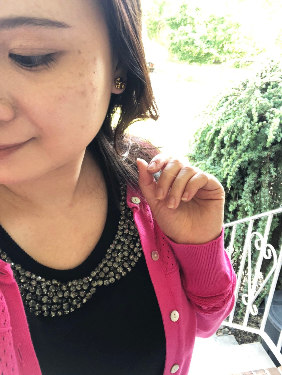 Jeweled Peter Pan Collar + Pink Cardigan 12