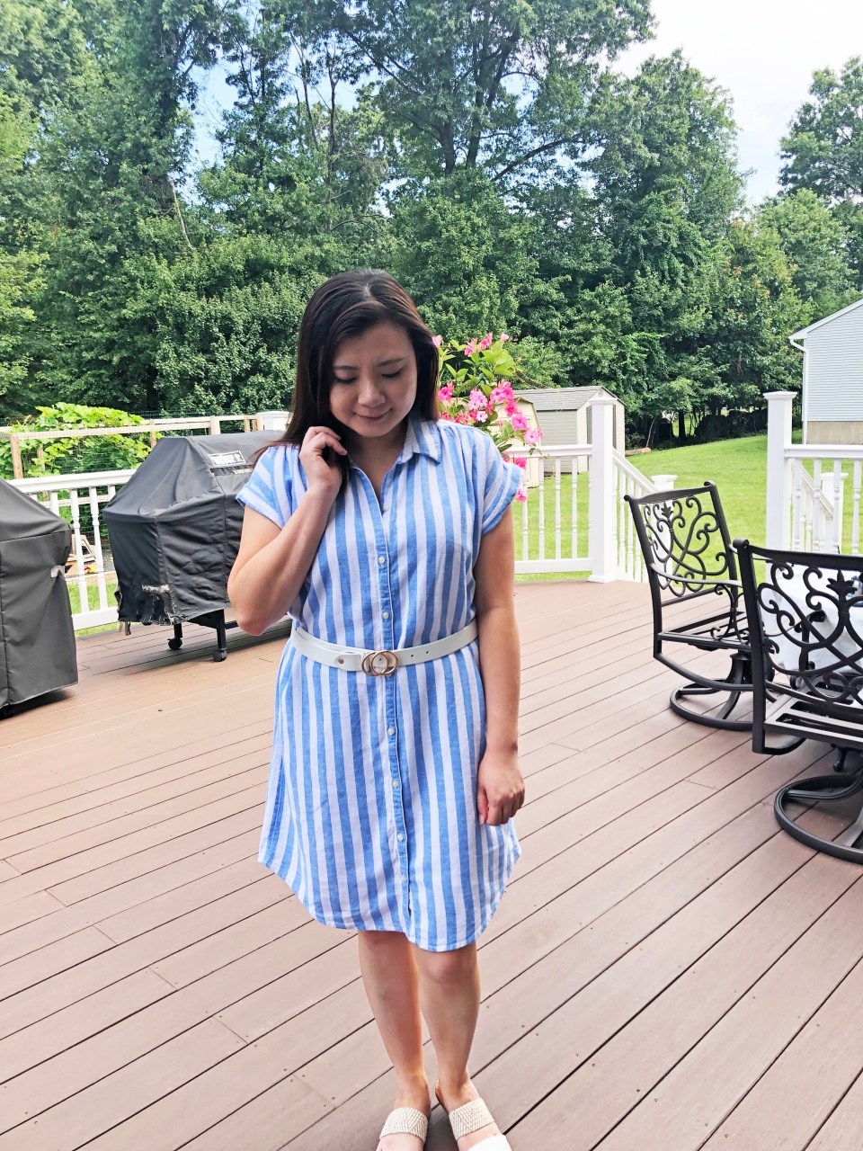 Blue & White Striped Linen Shirt Dress 11