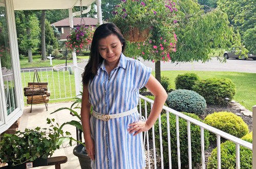 Blue & White Striped Linen Shirt Dress