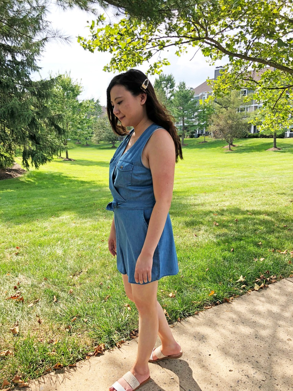 Front Pocket Chambray Romper 16