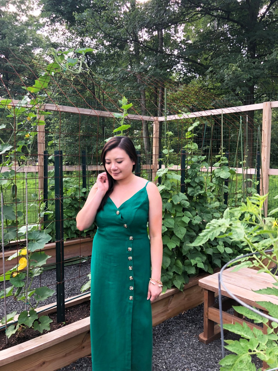 Green Asymmetrical Button Dress 12