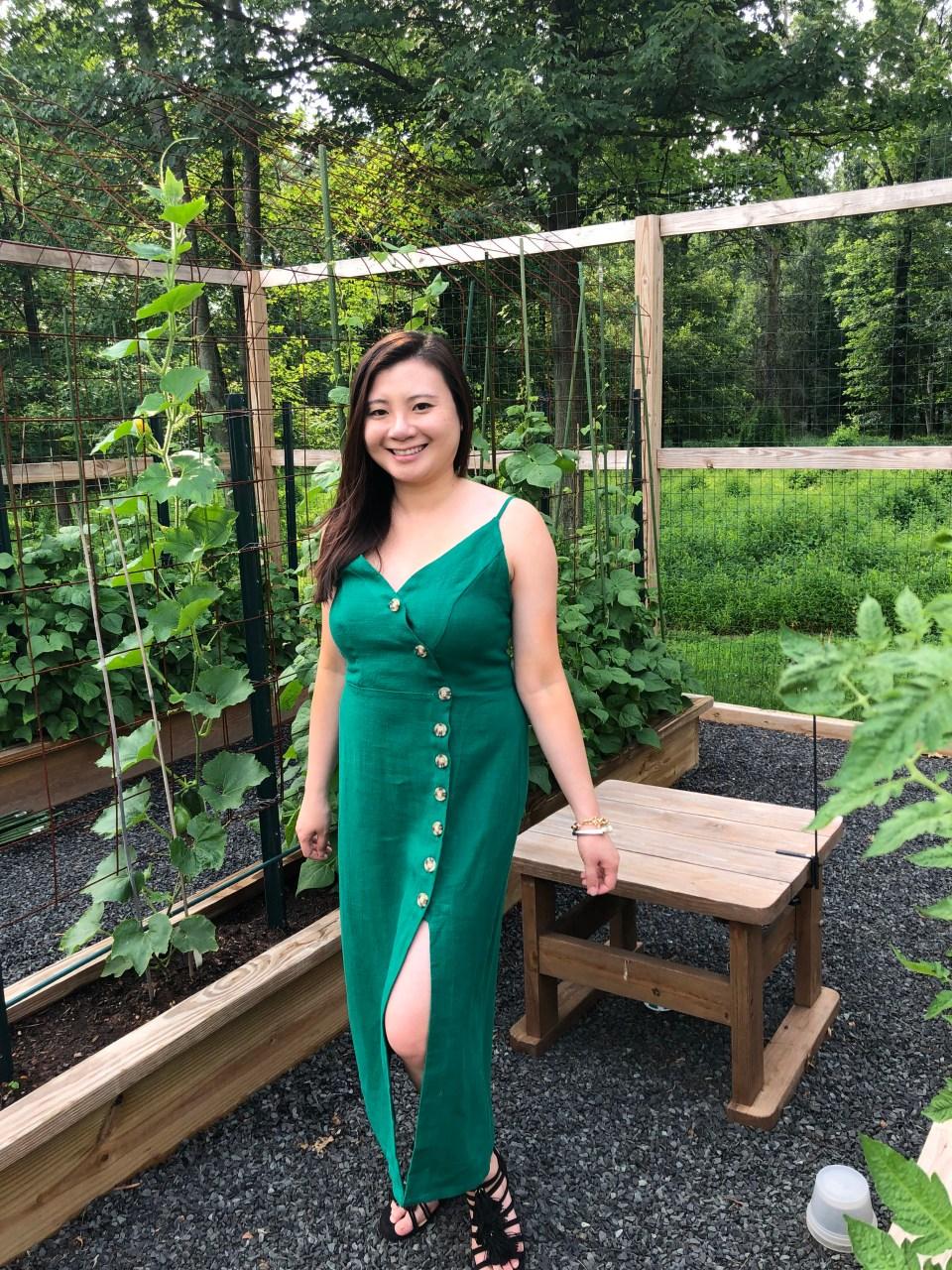 Green Asymmetrical Button Dress 15