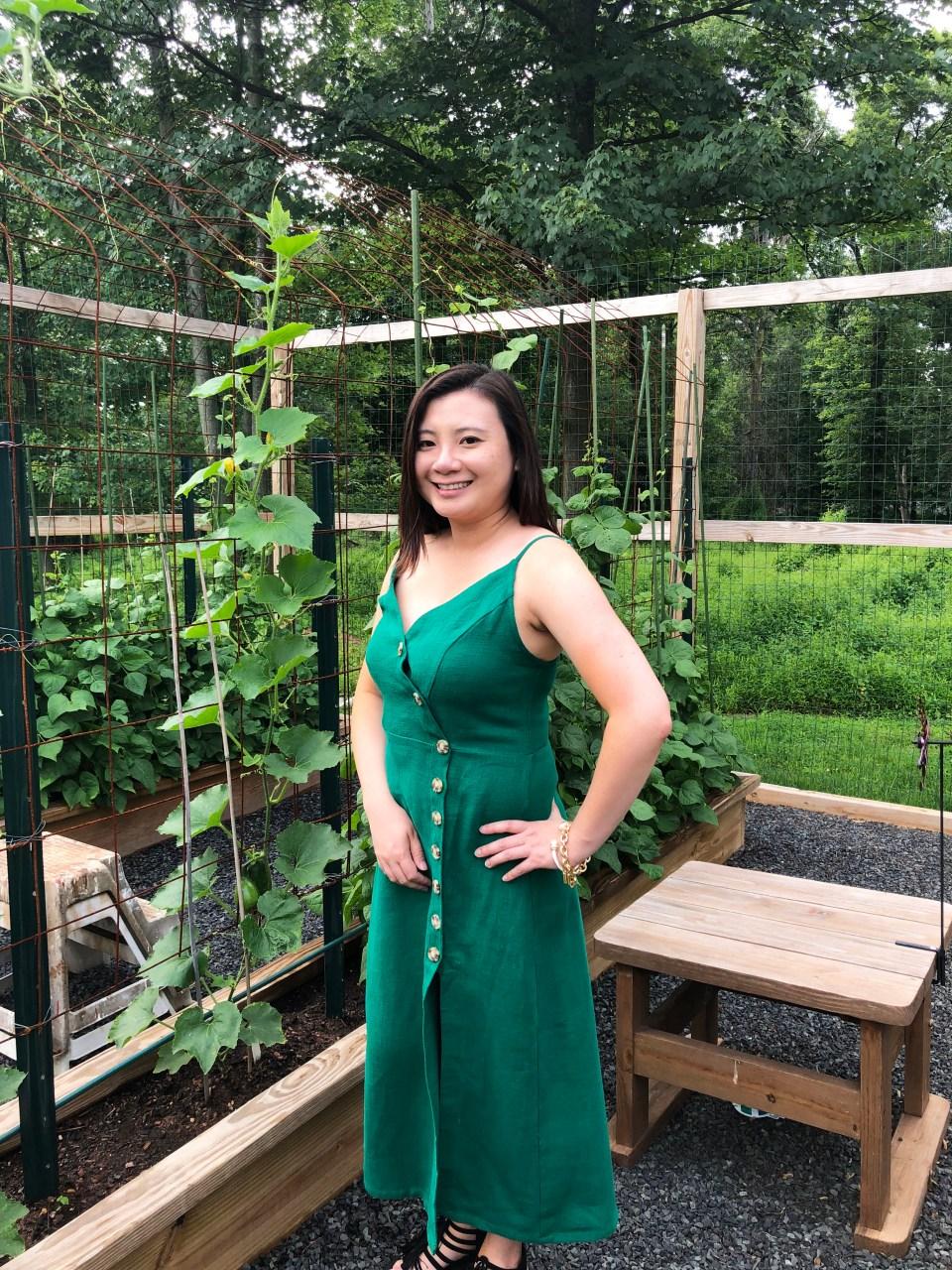 Green Asymmetrical Button Dress 3