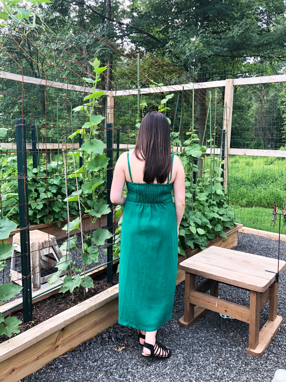 Green Asymmetrical Button Dress 4