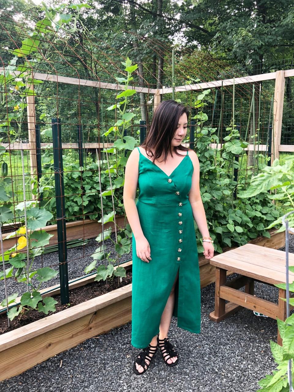 Green Asymmetrical Button Dress 6