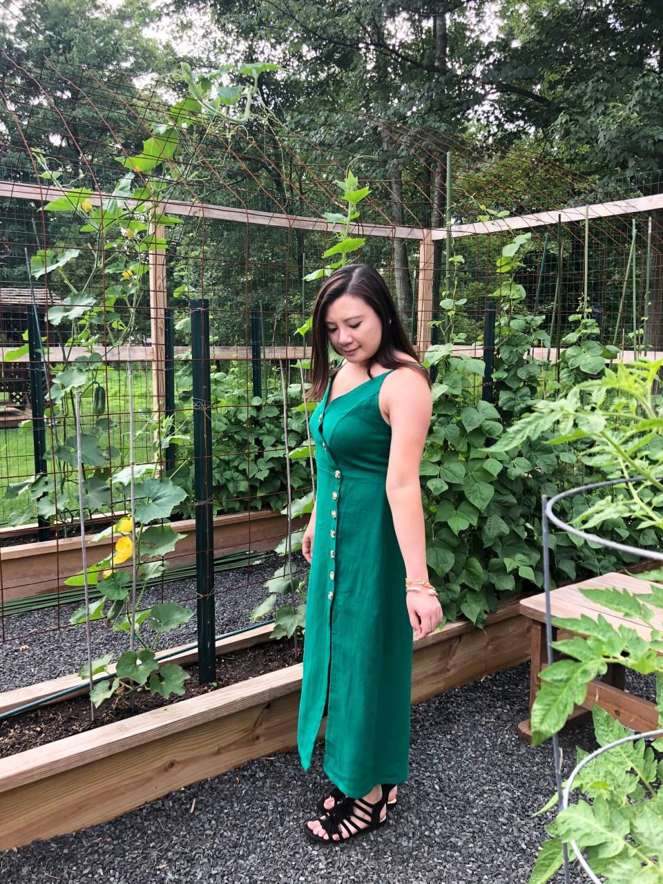 Green Asymmetrical Button Dress 8