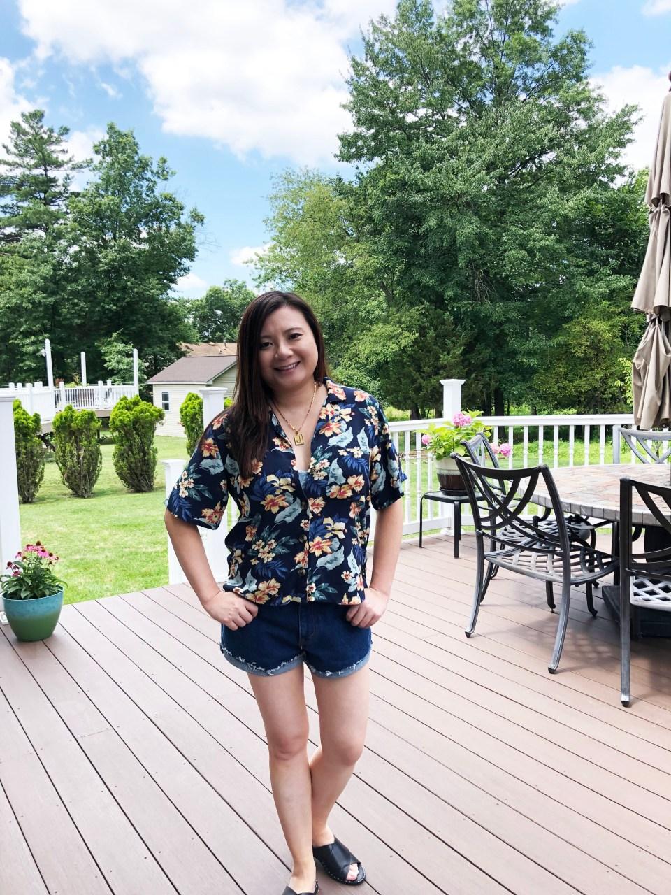 Navy Blue Floral Getaway Shirt 3