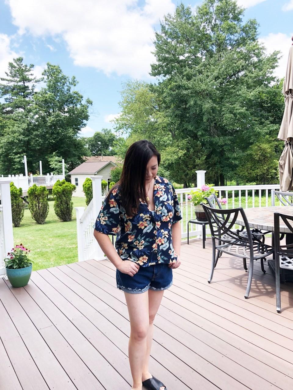 Navy Blue Floral Getaway Shirt 4