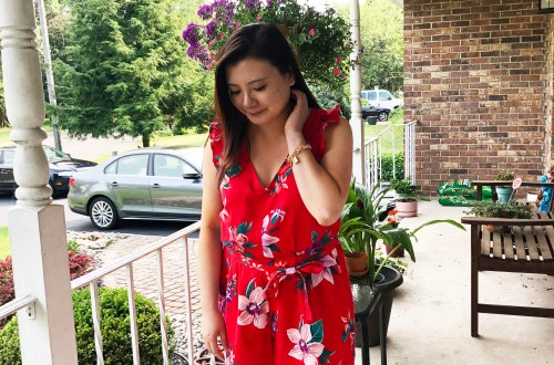 Red Floral Romper