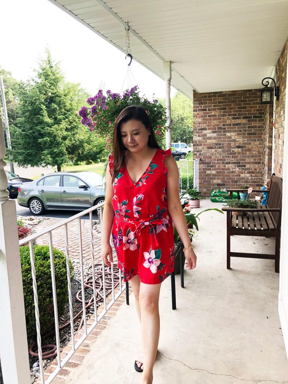 Red Floral Romper 8