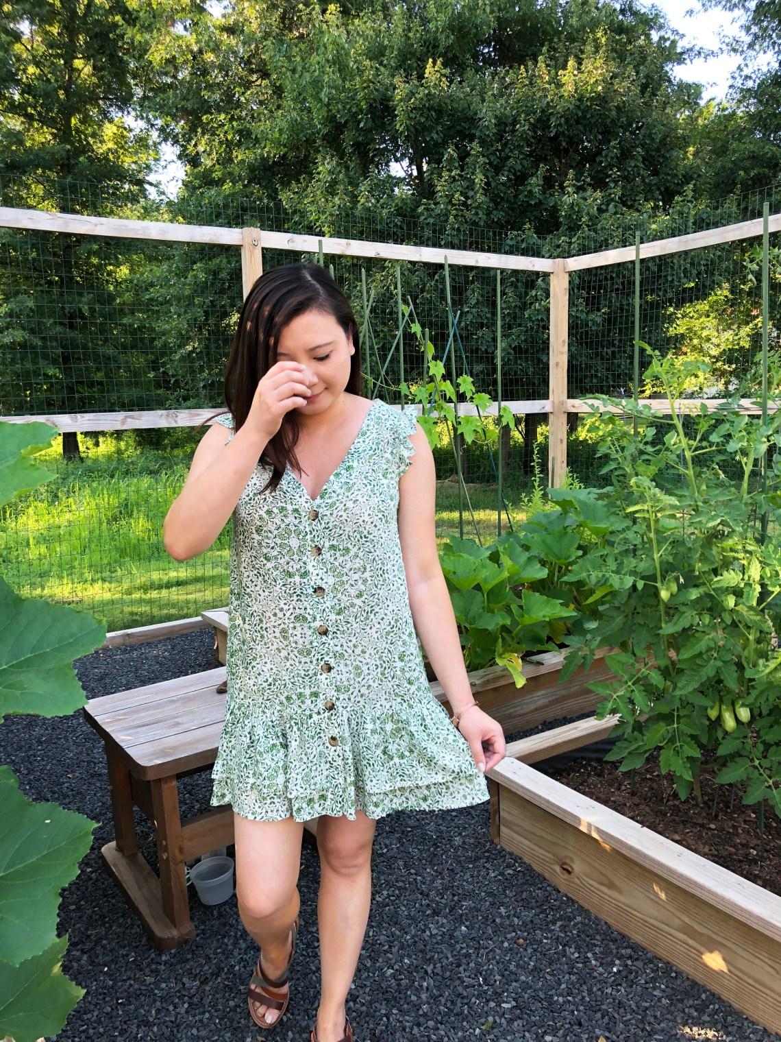Sage Green Button Front Dress