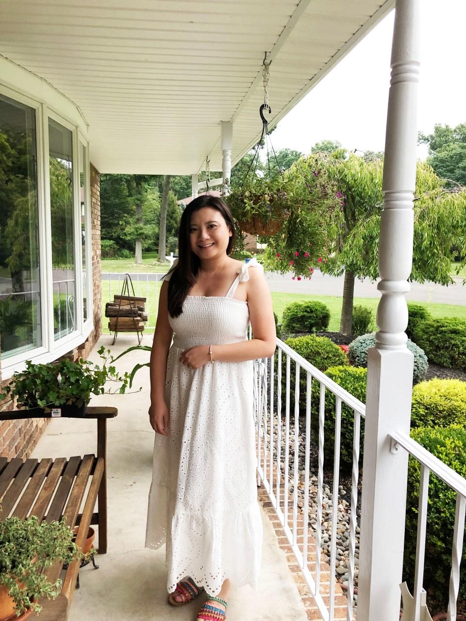White Smocked & Eyelet Maxi Dress 15