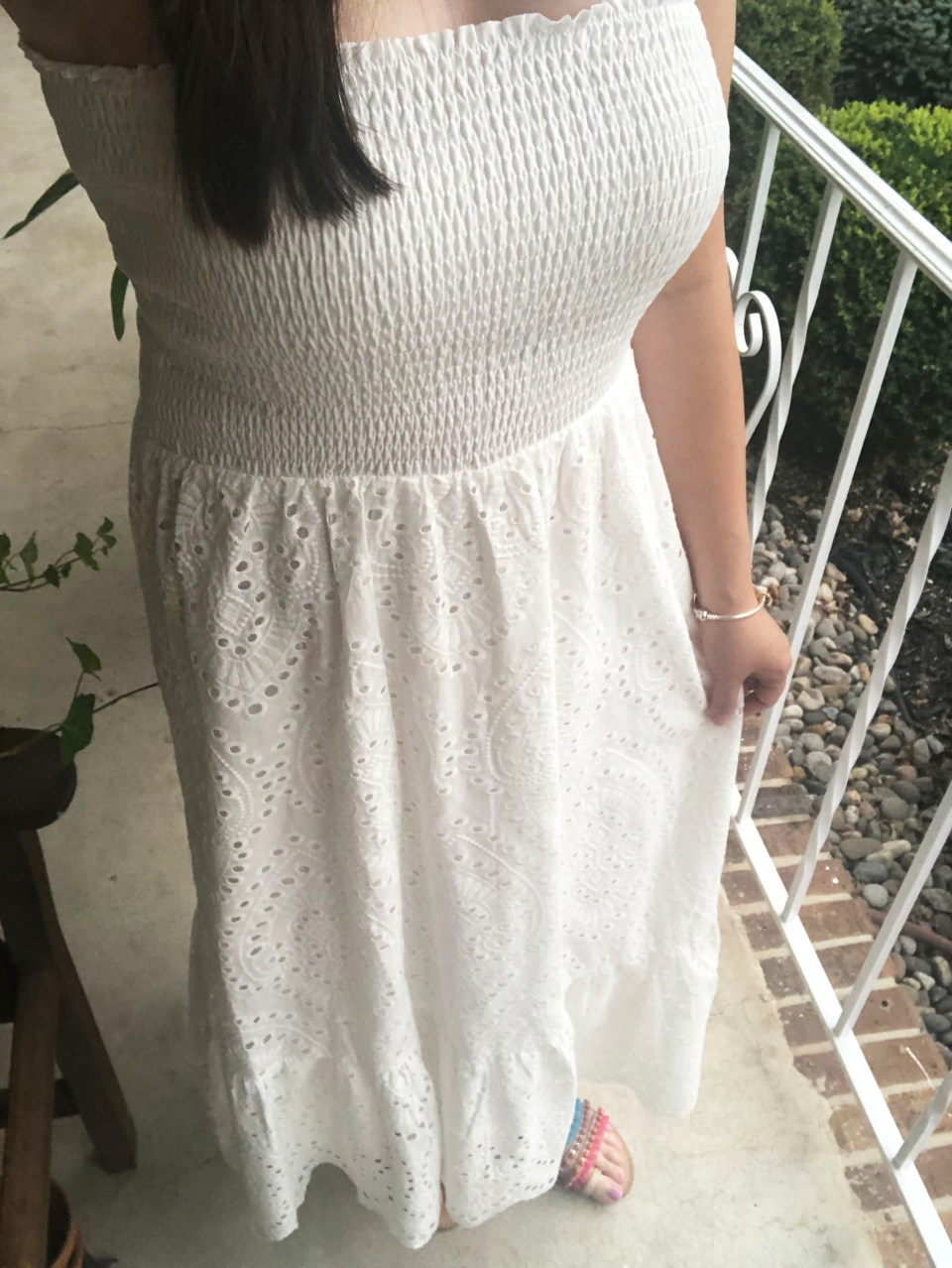 White Smocked & Eyelet Maxi Dress 19