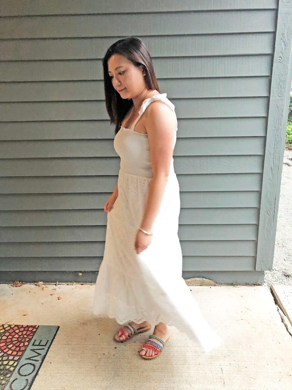 White Smocked & Eyelet Maxi Dress 3