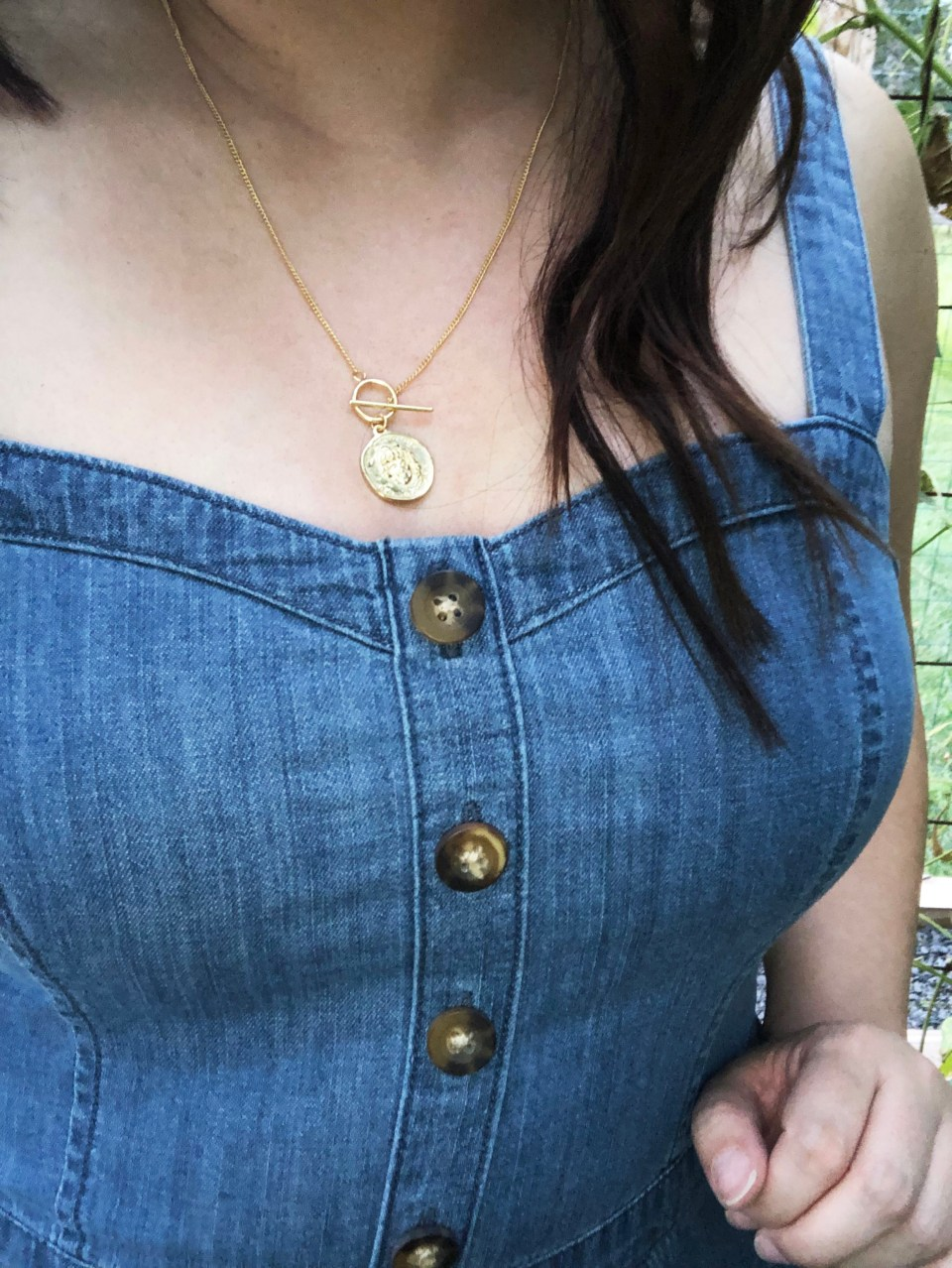 Denim Jumpsuit & Coin Toggle Necklace 11