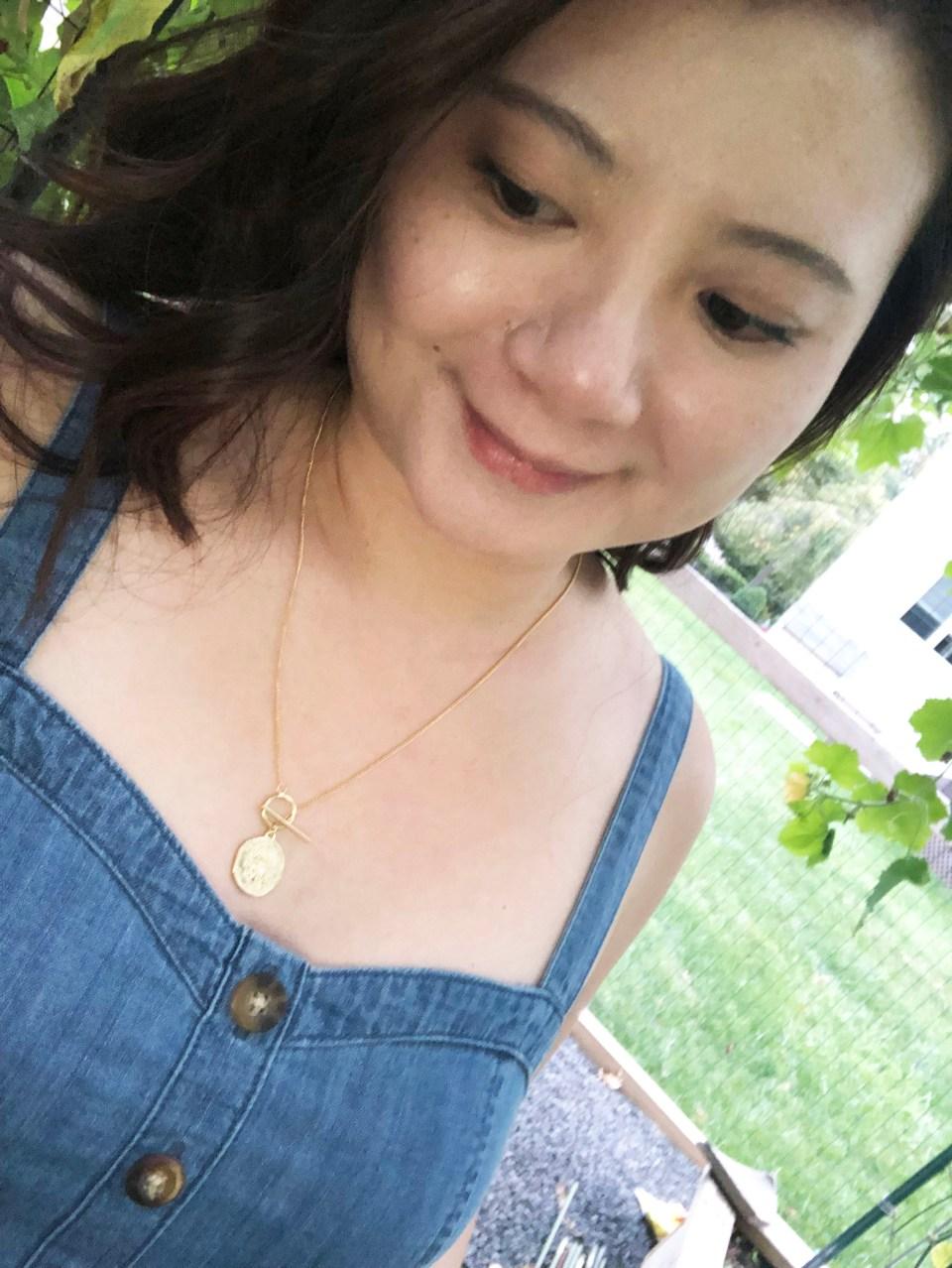 Denim Jumpsuit & Coin Toggle Necklace 15