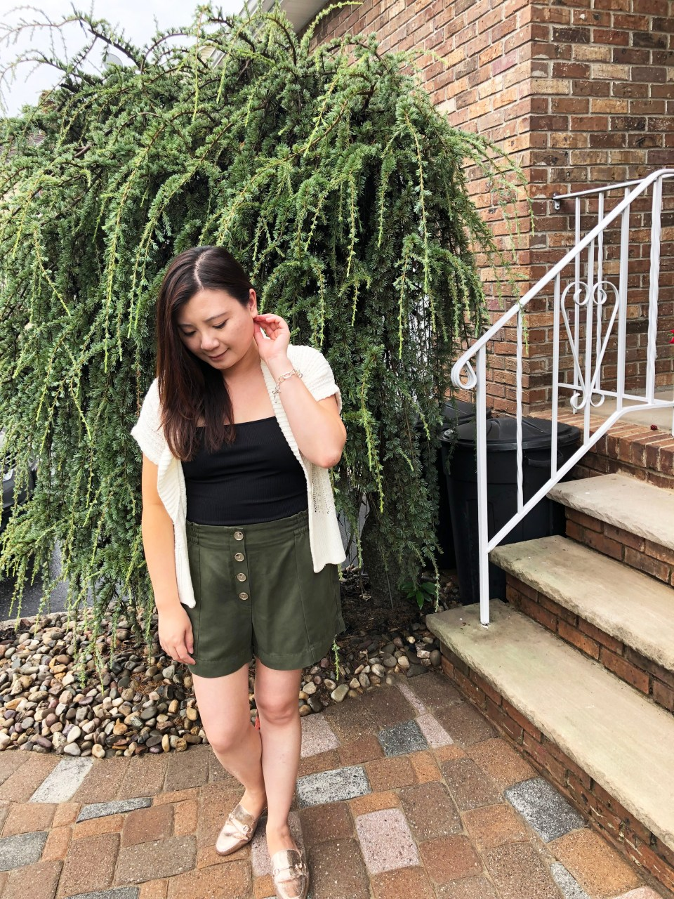 Olive Green Button Front Shorts 1