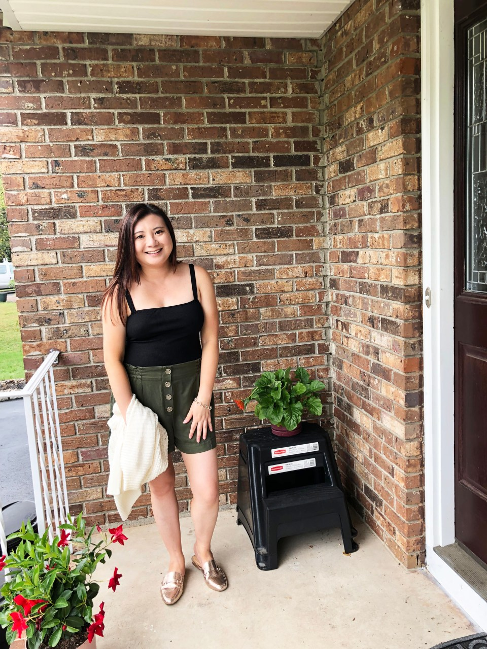 Olive Green Button Front Shorts 10