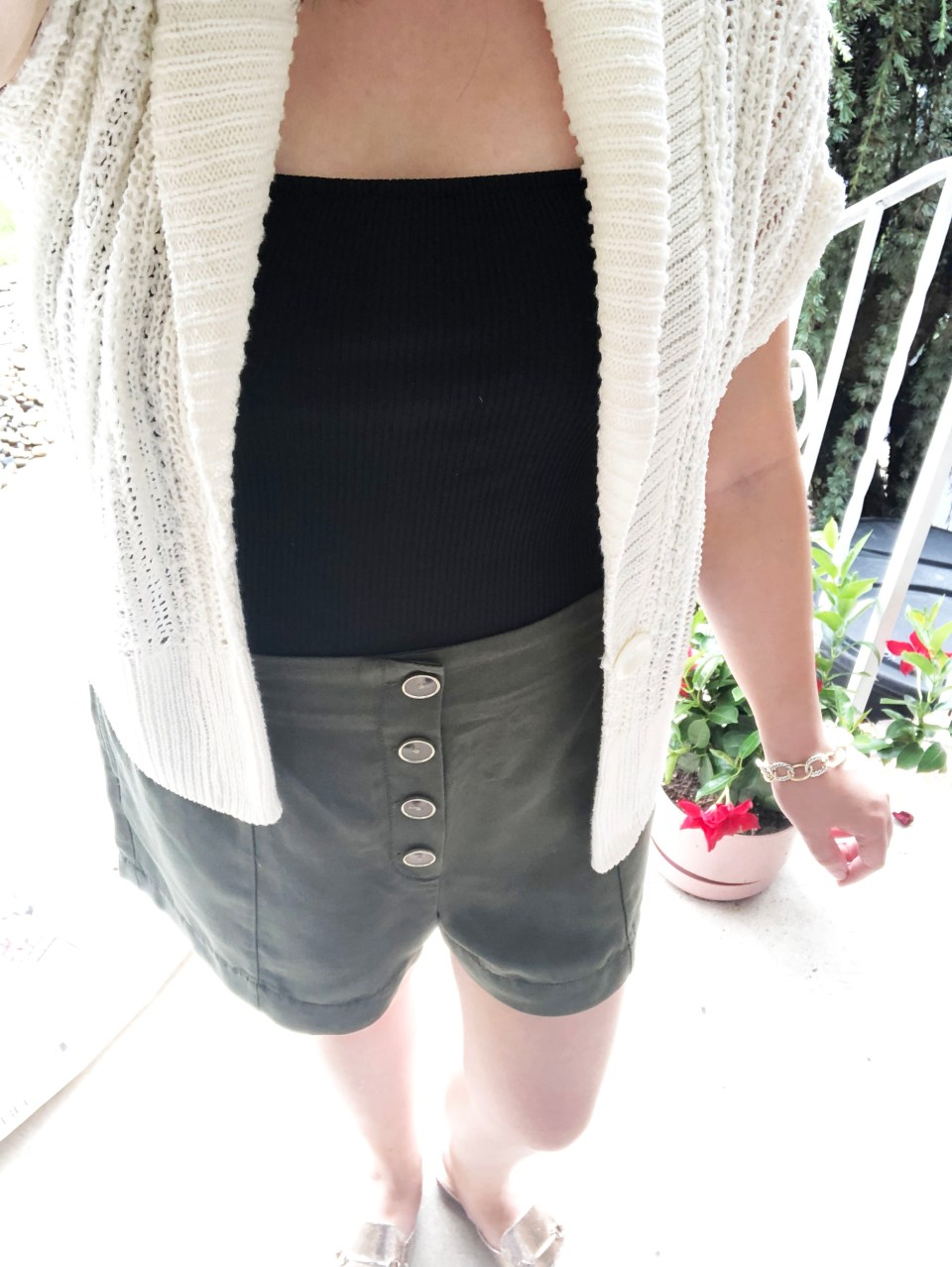 Olive Green Button Front Shorts 17