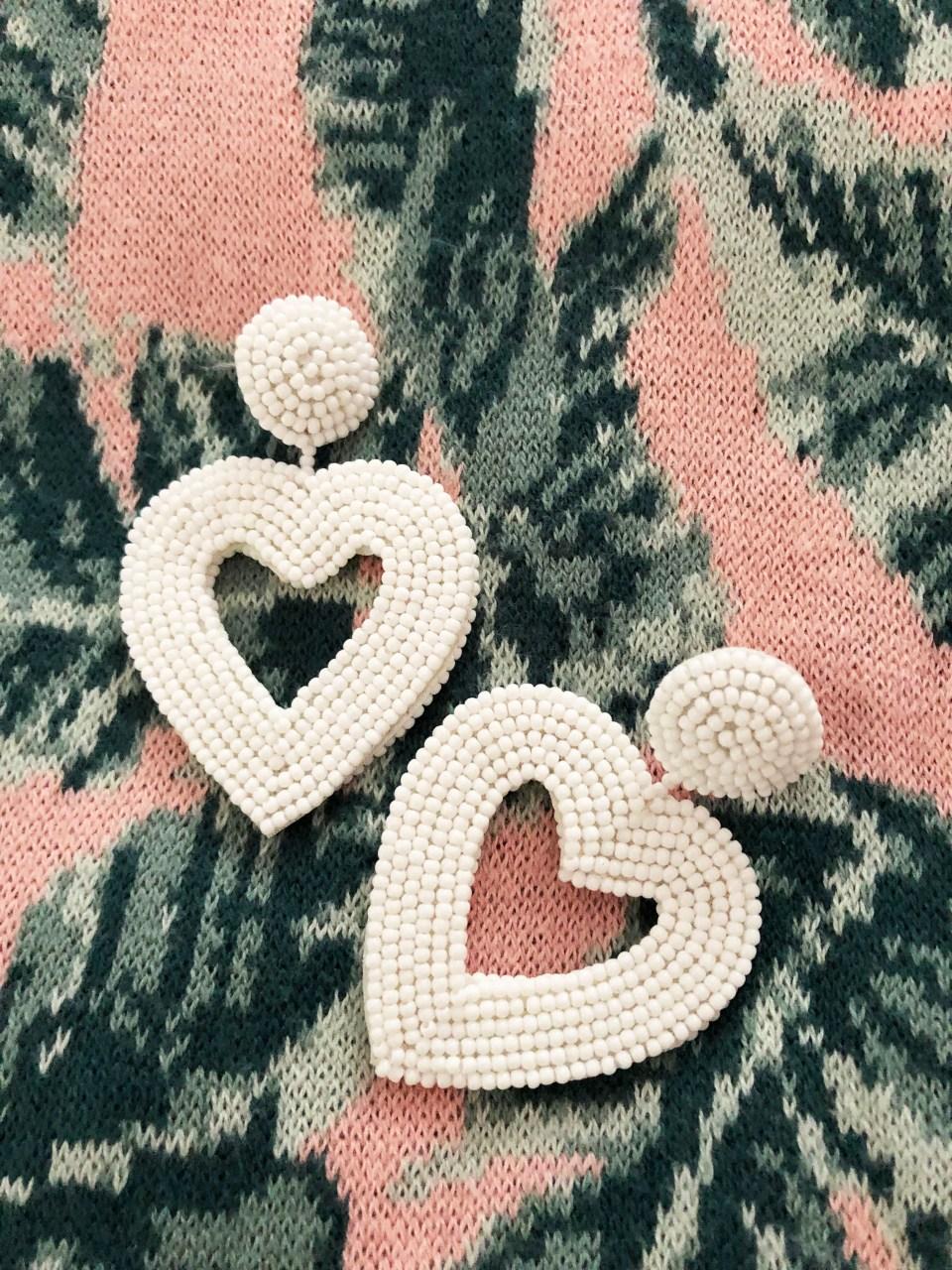 Palm Print Sweater Tank + Beaded Heart Earrings