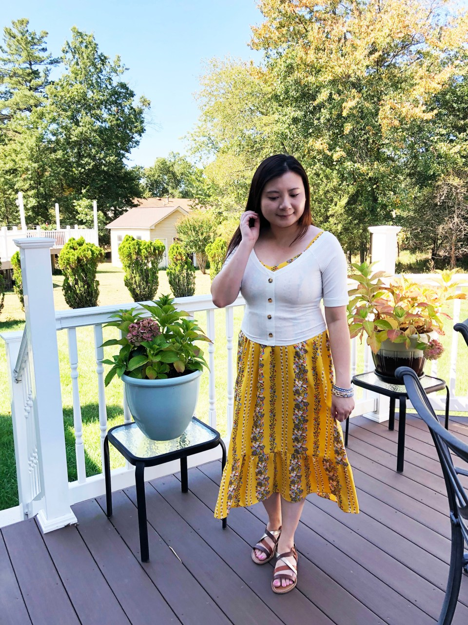 Yellow Floral Midi + Crop Top 10