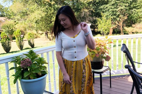 Yellow Floral Midi + Crop Top