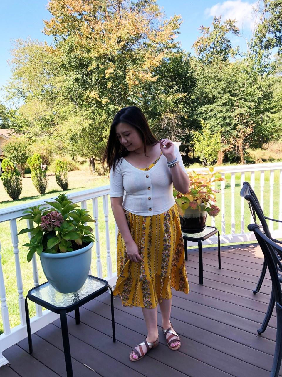 Yellow Floral Midi + Crop Top 12