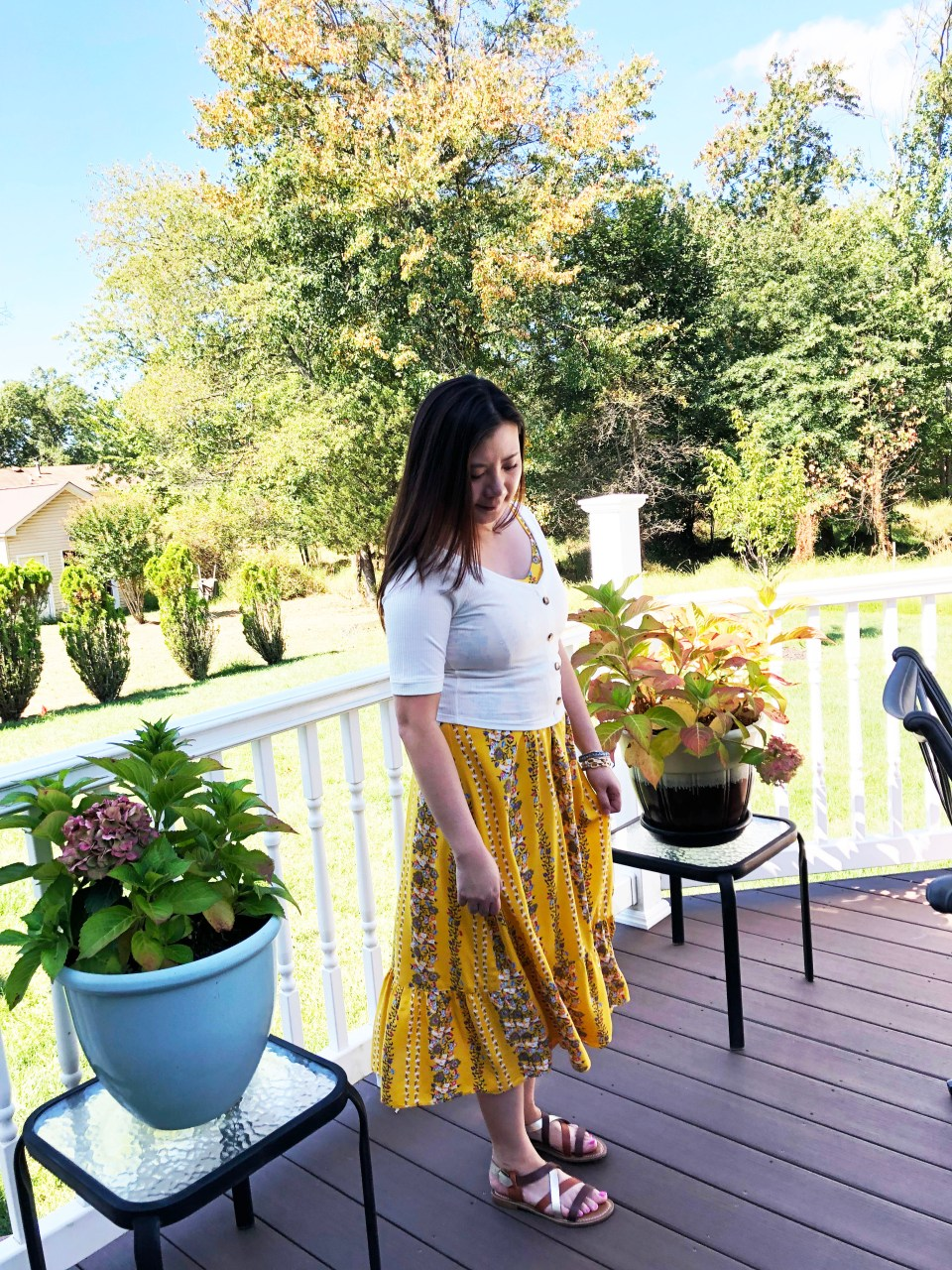 Yellow Floral Midi + Crop Top 5
