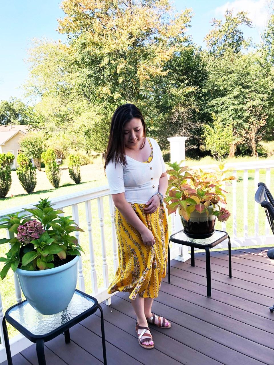 Yellow Floral Midi + Crop Top 6