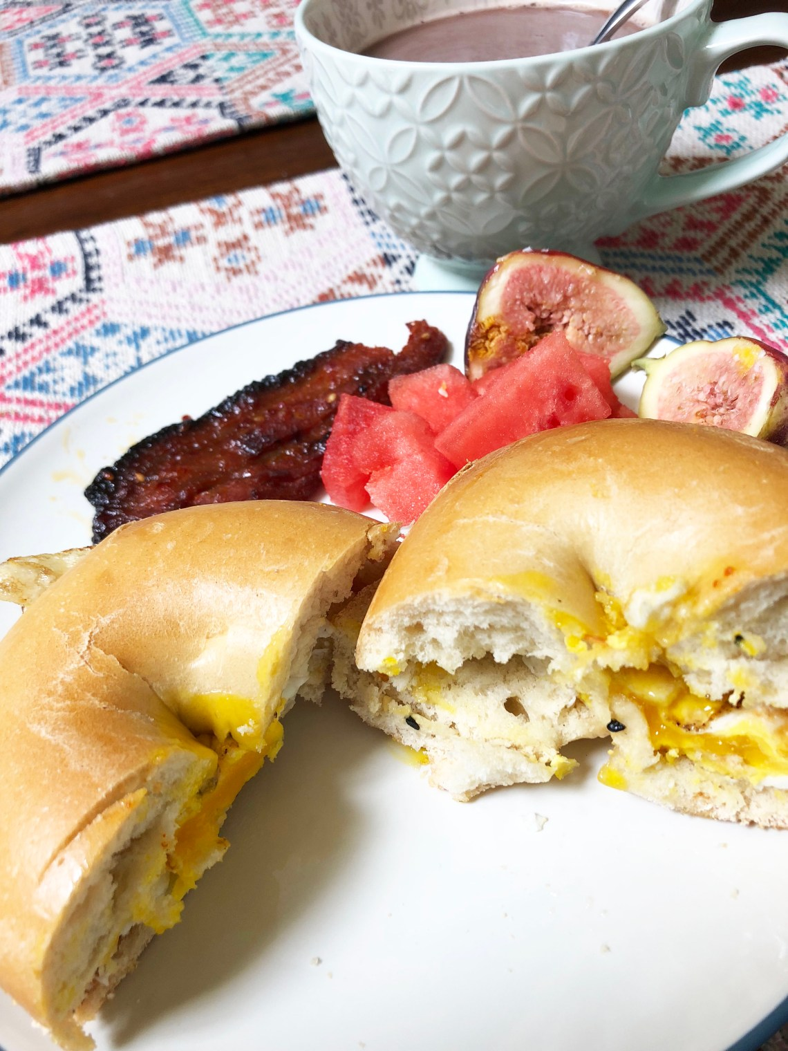 Egg on Bagel + Korean Pork Belly