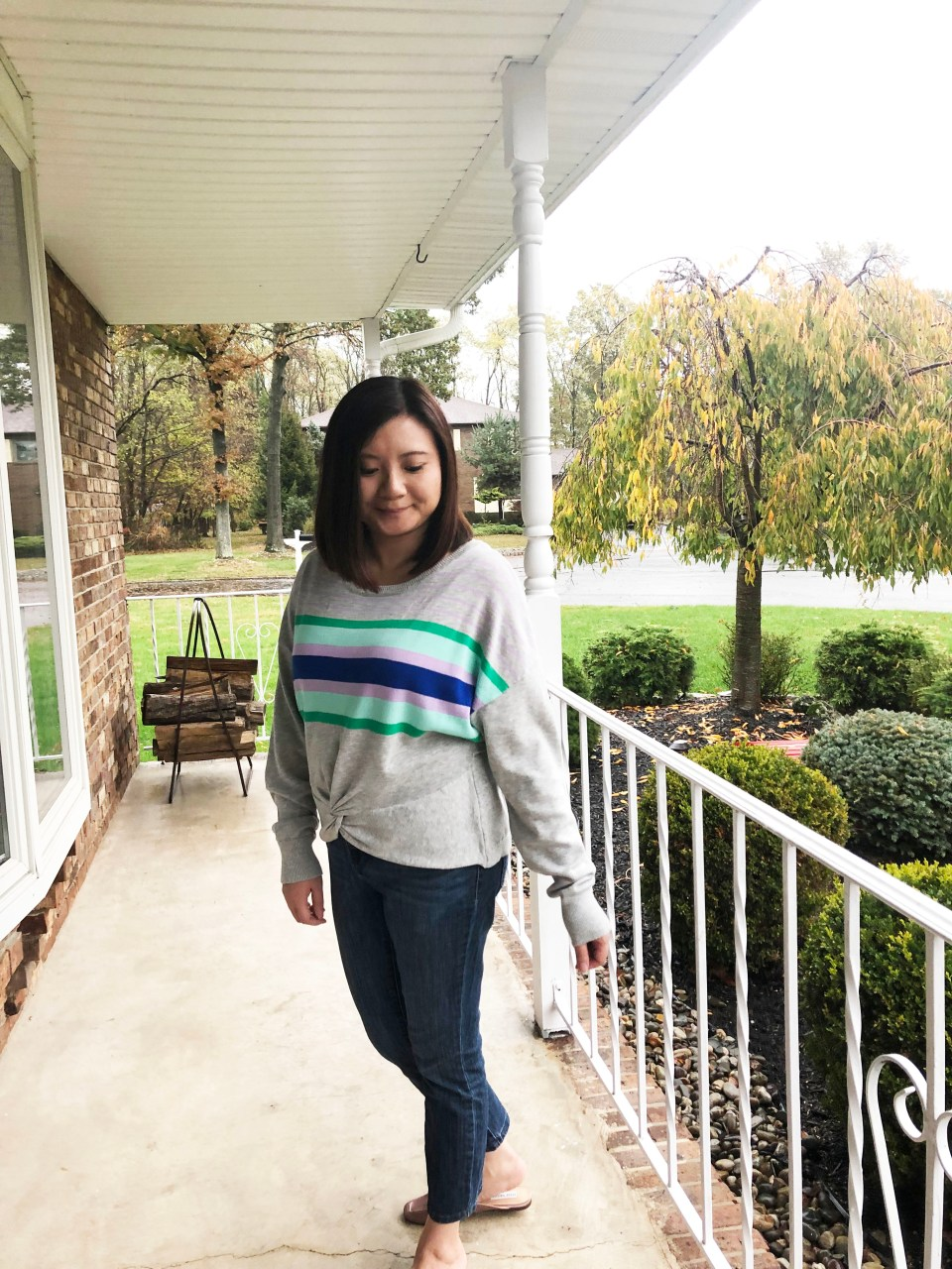 Striped Twist Front Pullover 10