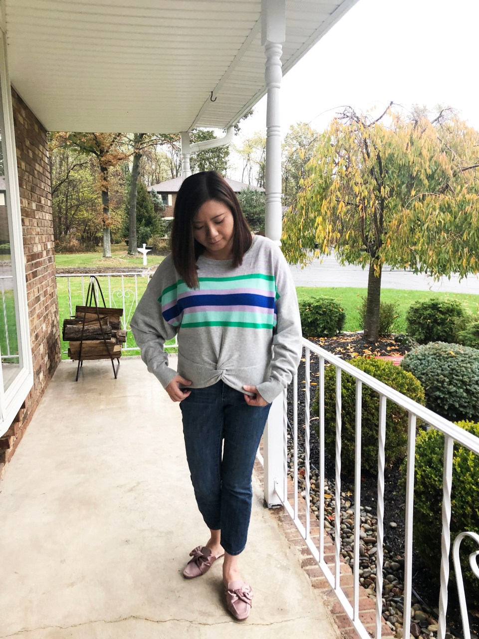Striped Twist Front Pullover 7