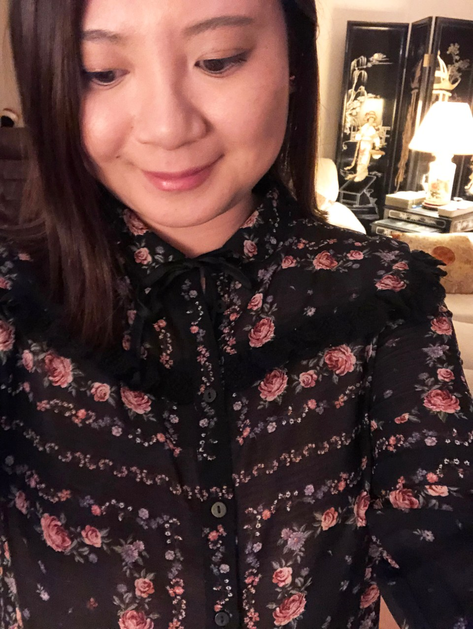 Black Floral Blouse 16
