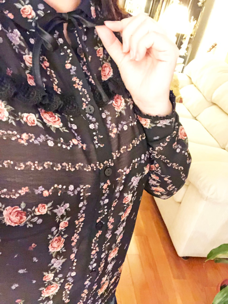 Black Floral Blouse 17
