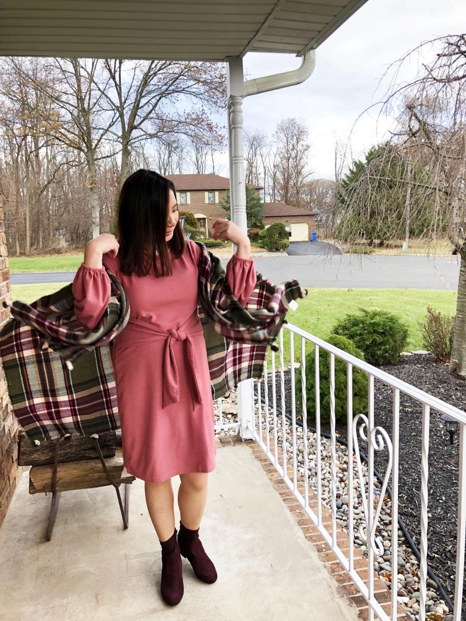 Pink Tie Waist Dress + Plaid Ruana 12