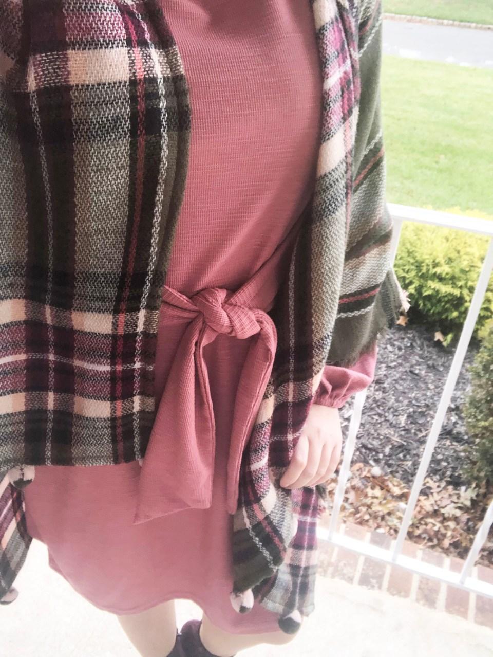 Pink Tie Waist Dress + Plaid Ruana 16