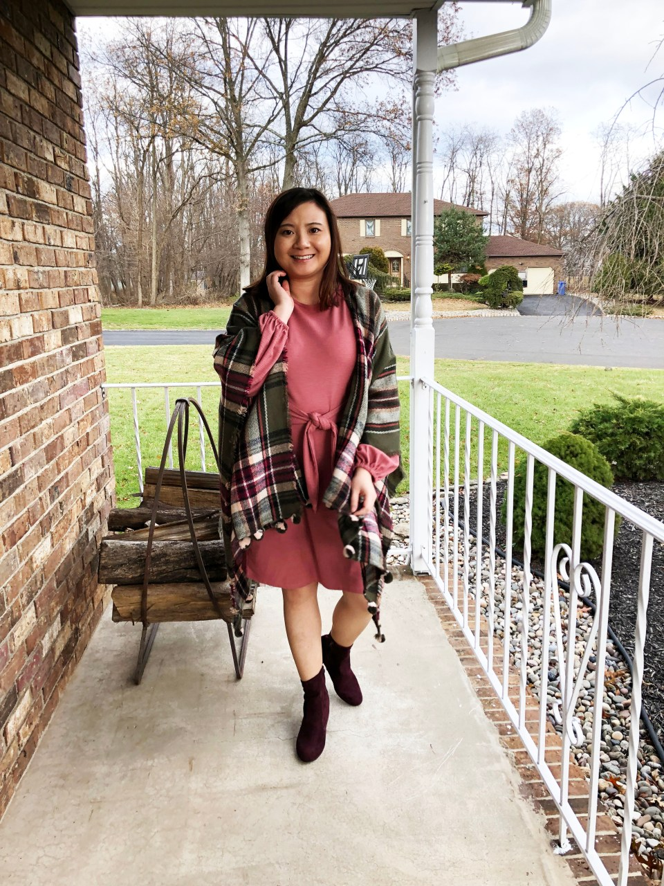 Pink Tie Waist Dress + Plaid Ruana 3