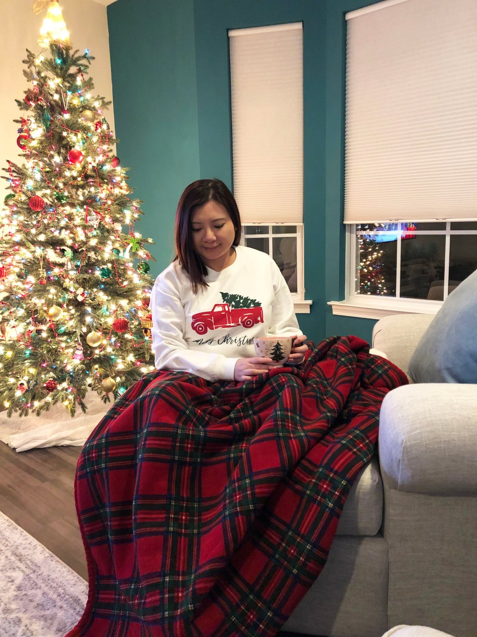 Christmas Tree Truck Sweatshirt + Plaid Sherpa Blanket 4