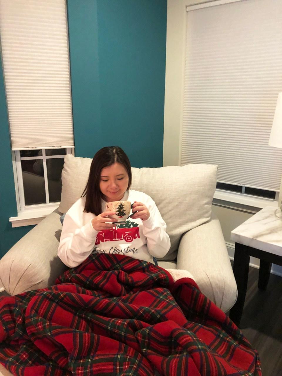 Christmas Tree Truck Sweatshirt + Plaid Sherpa Blanket 7