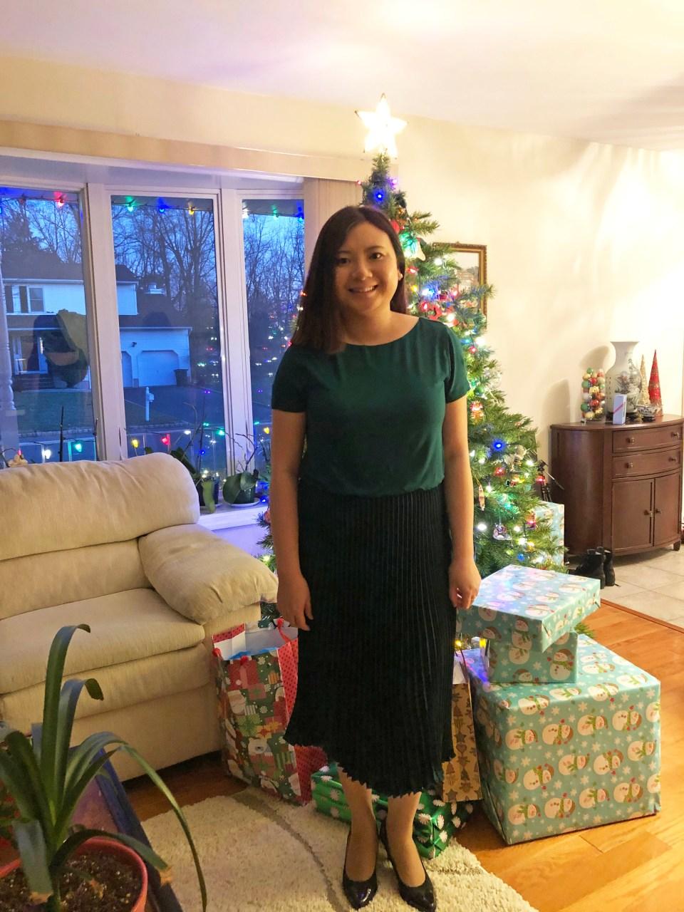 Emerald Green Pleated Midi Dress