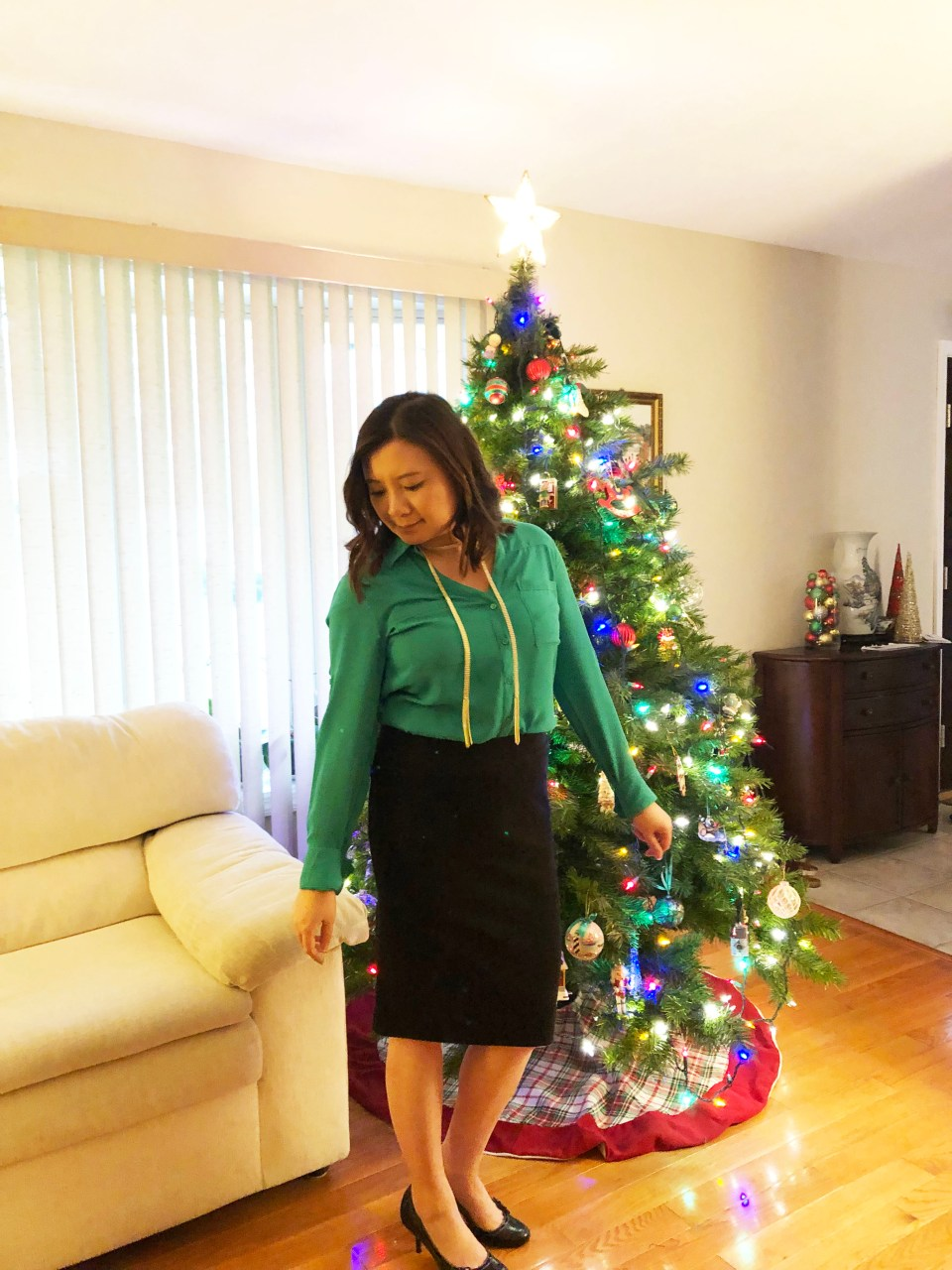 Green Utility Blouse + Ribbed Skirt 5