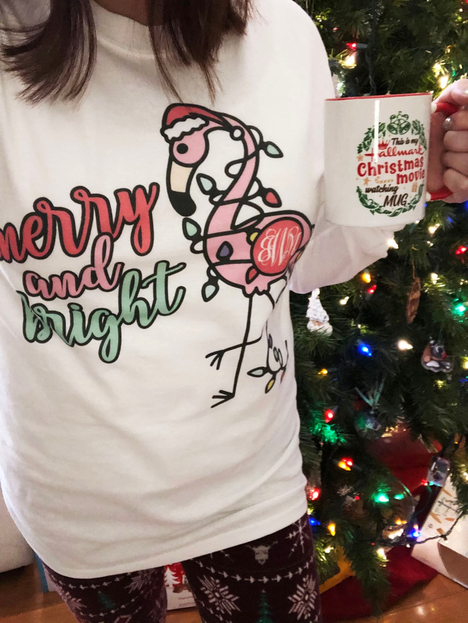 Merry & Bright Flamingo Tee 4