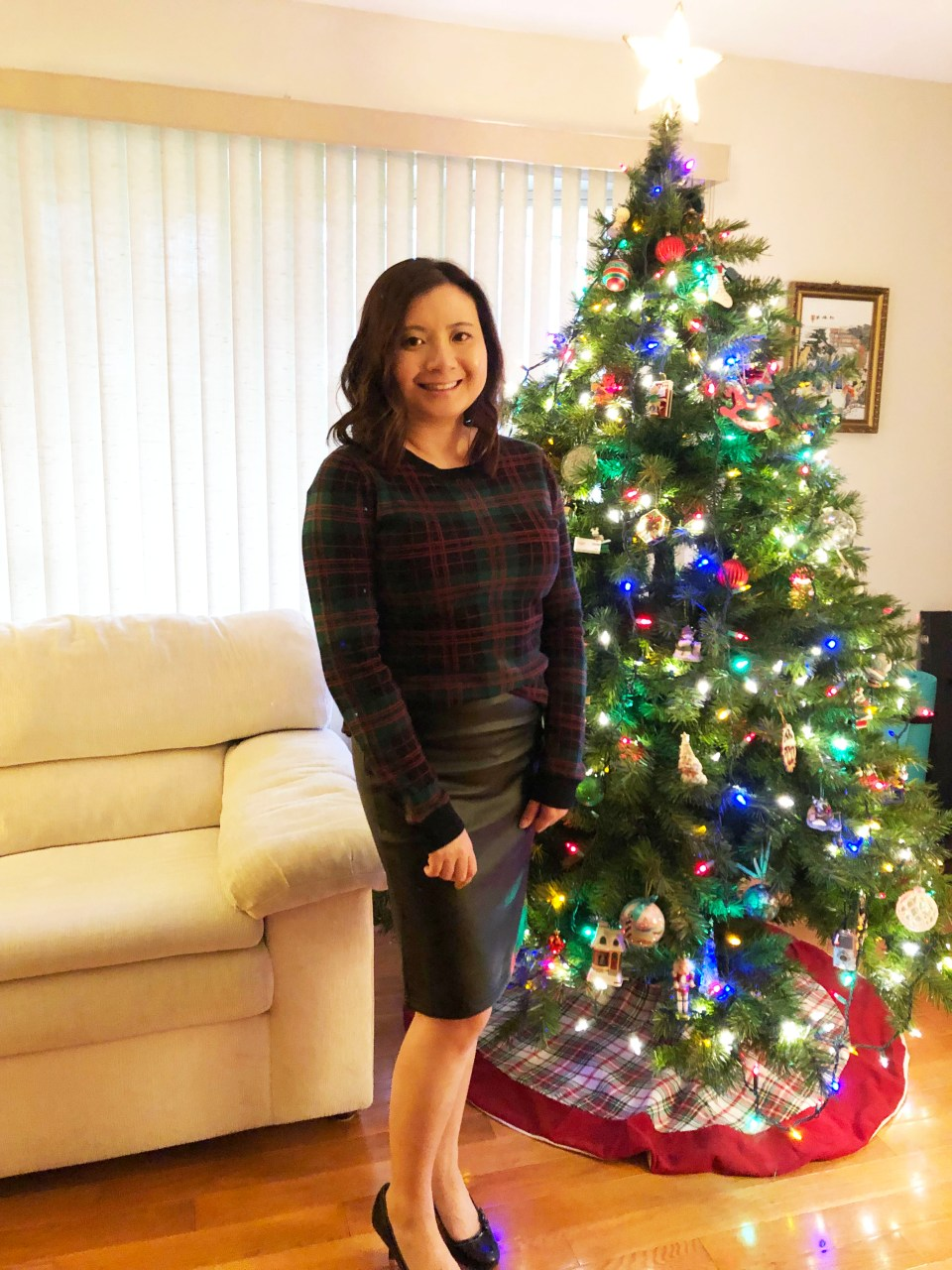 Plaid Sweater + Faux Leather Skirt 10