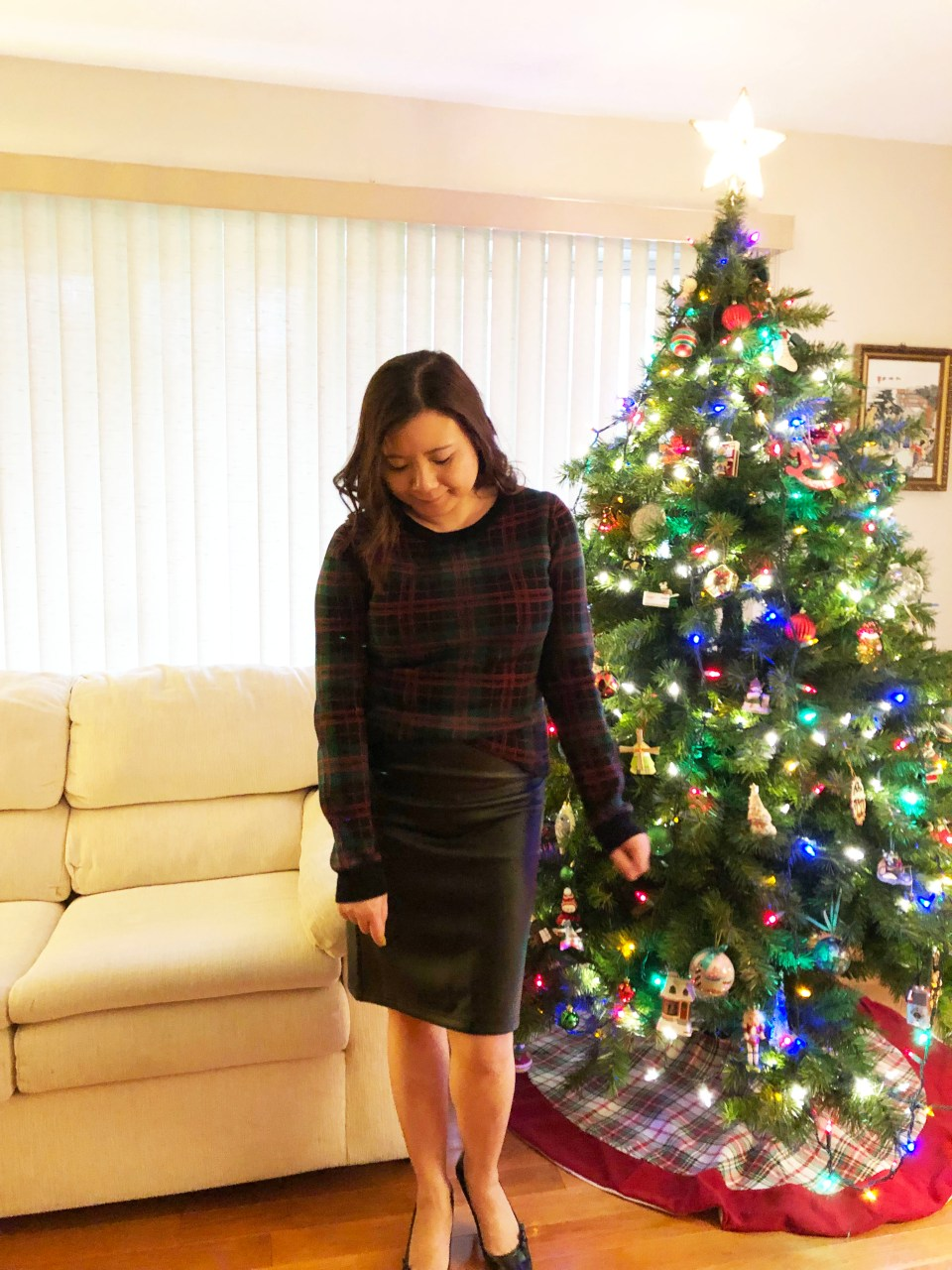 Plaid Sweater + Faux Leather Skirt 2