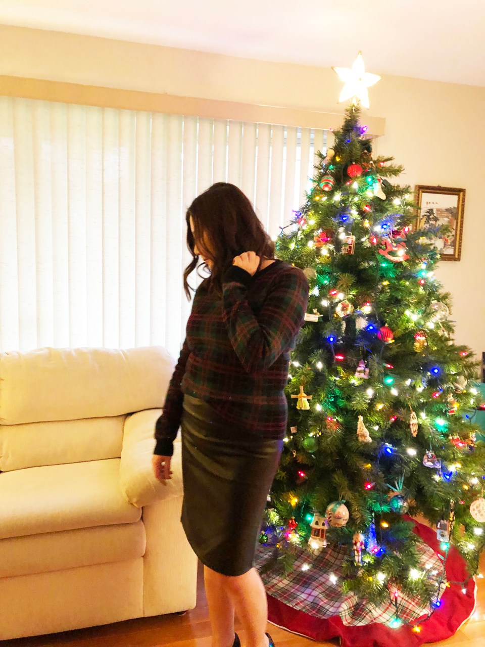 Plaid Sweater + Faux Leather Skirt 4