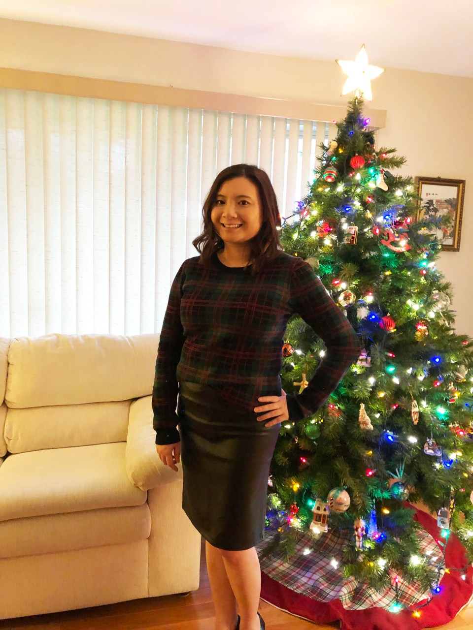 Plaid Sweater + Faux Leather Skirt 5