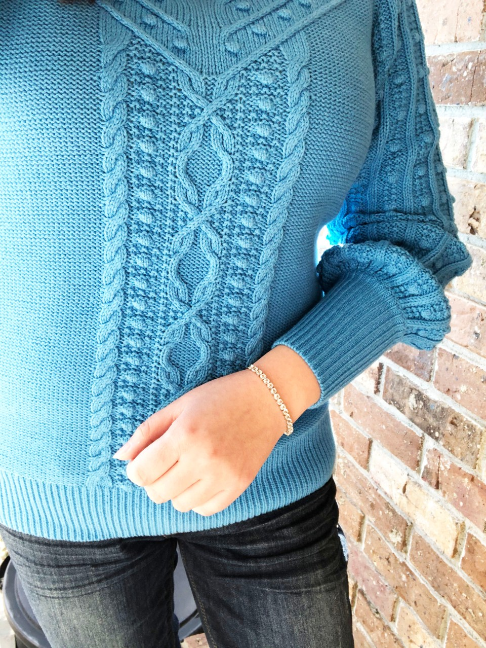 Blue Bobble Cable Knit 9