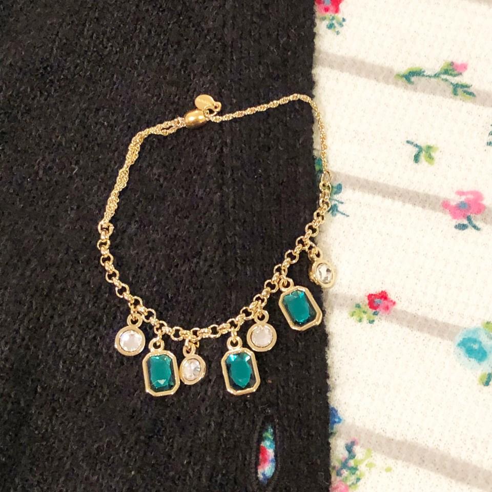 Emerald Pull Chain Bracelet 1