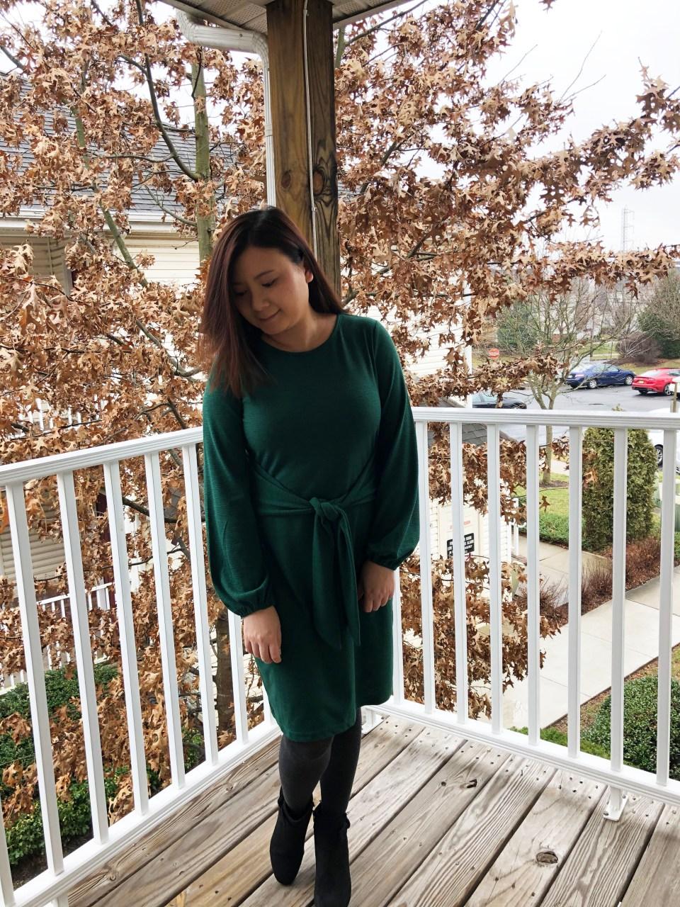 Green Tie Waist Dress 1