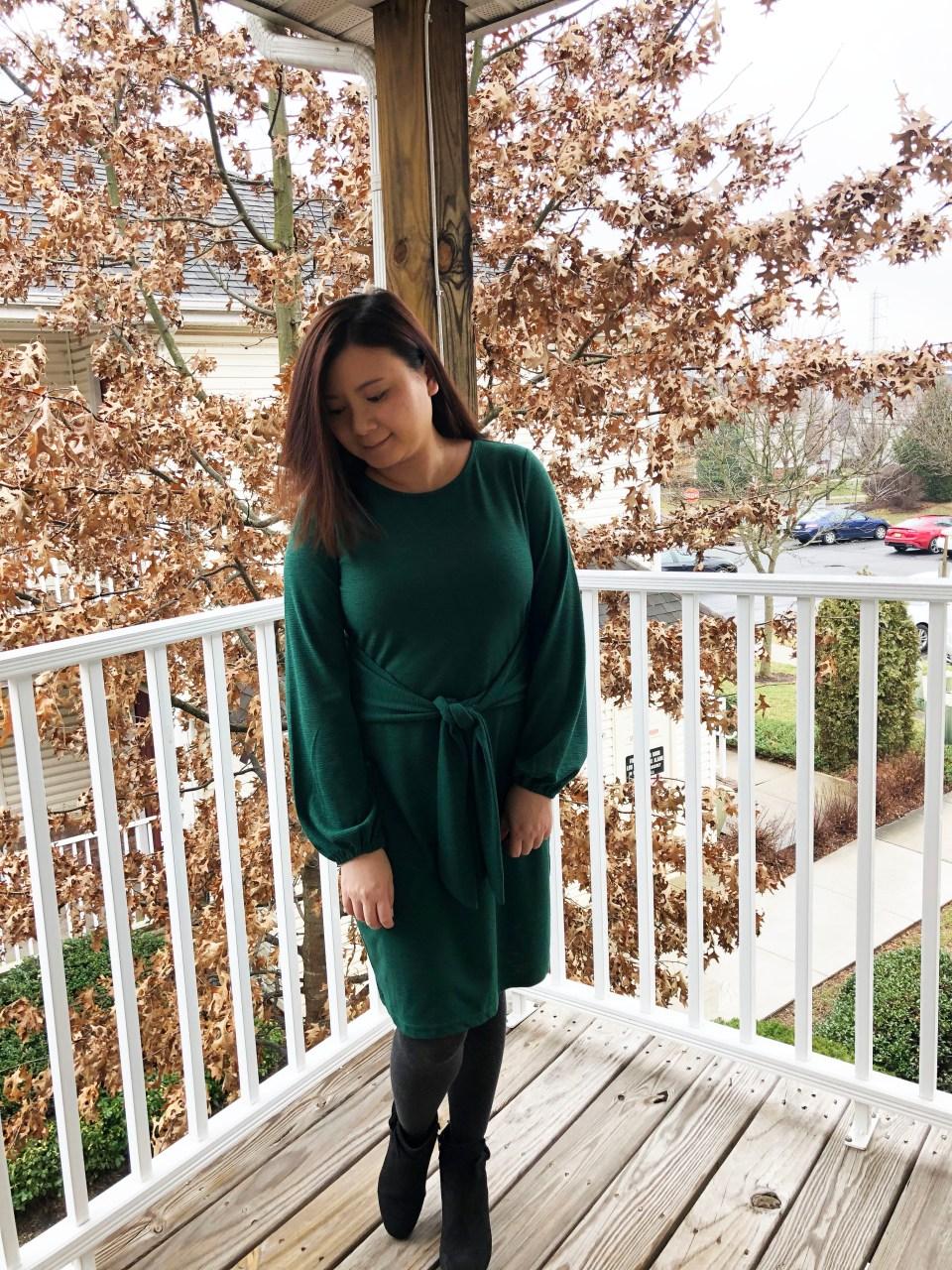 Green Tie Waist Dress 17